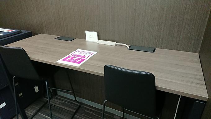 作業スペースは、WIFIや電源も用意されているので、PCを使った作業にも使えます。